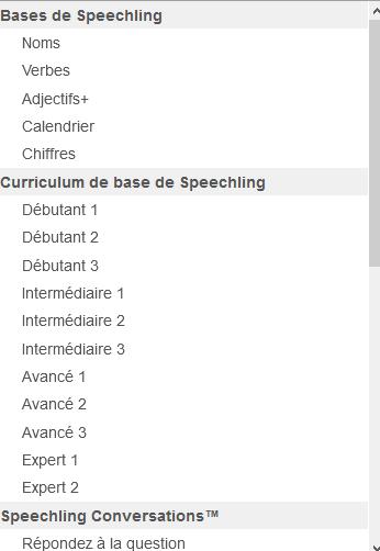 choix du niveau Speechling